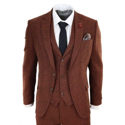 Rust Herringbone Tweed 3 Piece Suit
