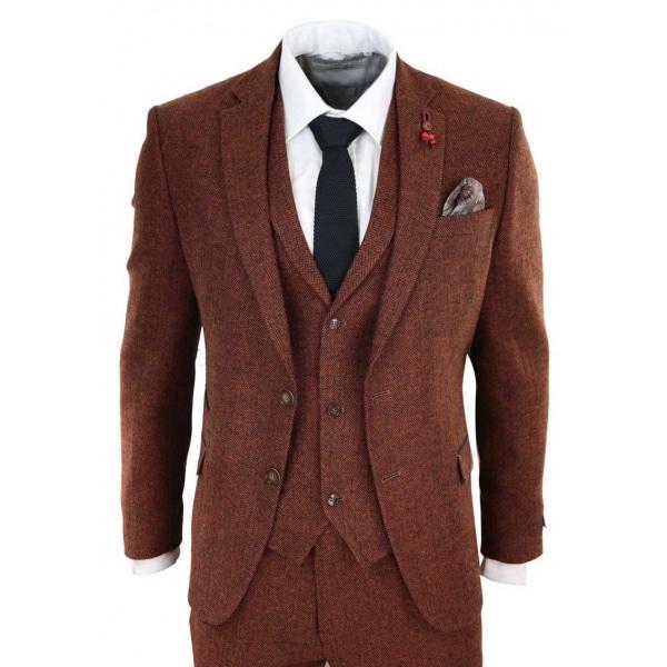 Rust Herringbone Tweed 3 Piece Suit