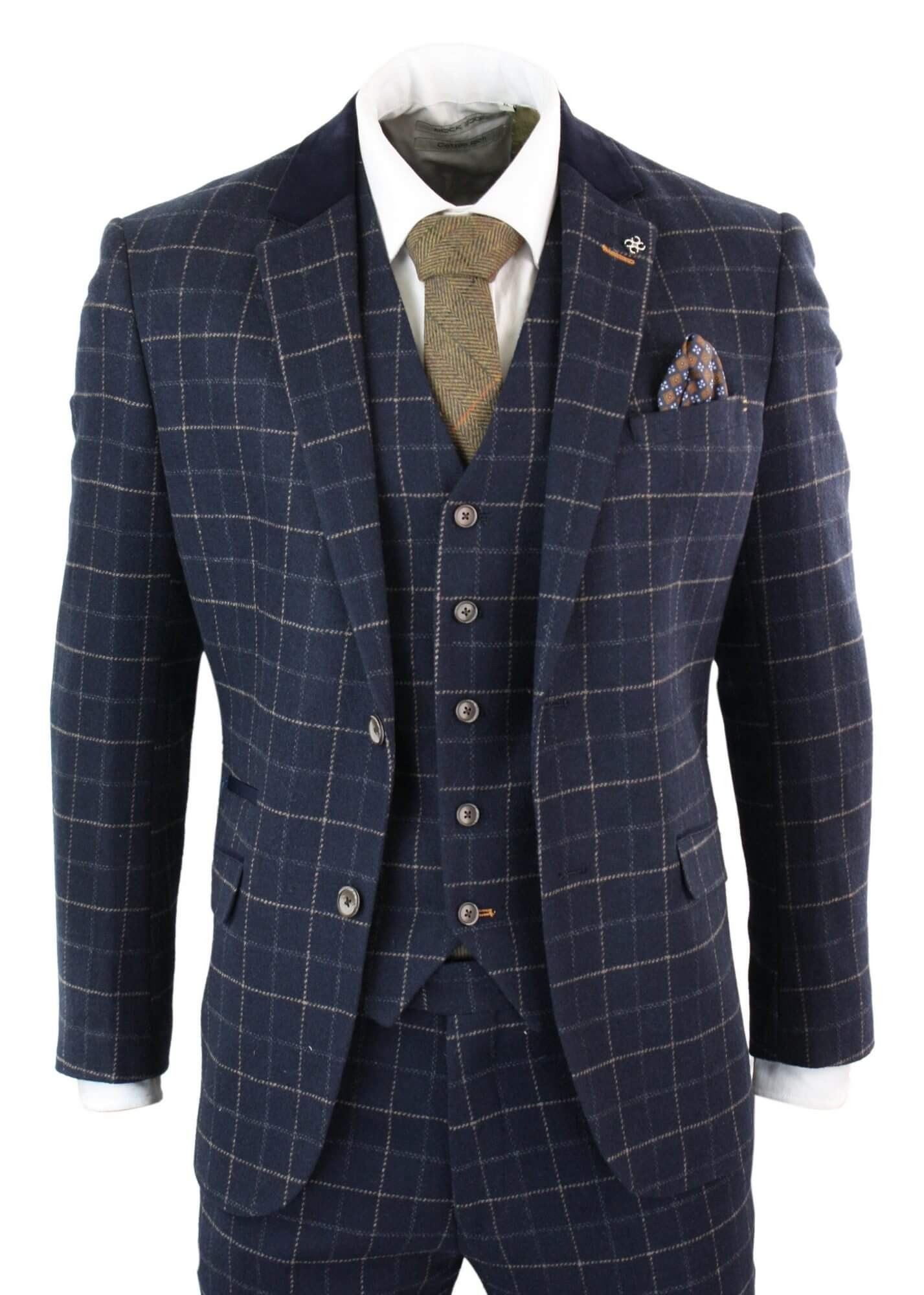 Mens Grey Black 3 Piece Tweed Suit Herringbone Wine Vintage Retro Peaky Blinders