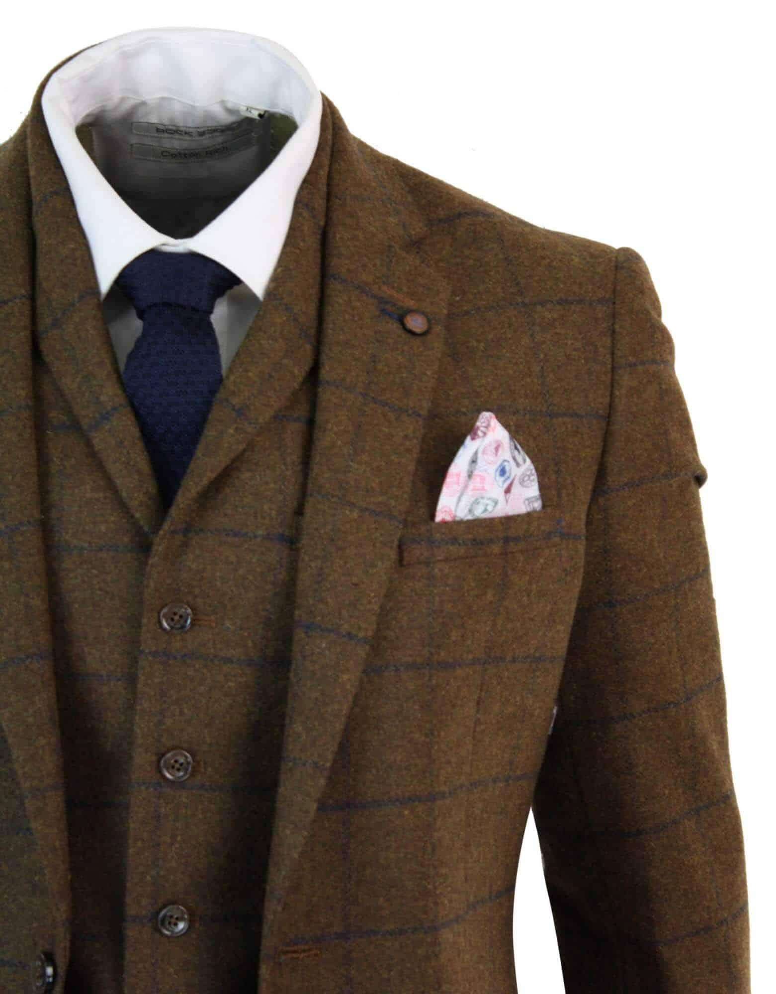Mens Wool Mix Slim Fit Tweed Blazer Jacket By Cavani