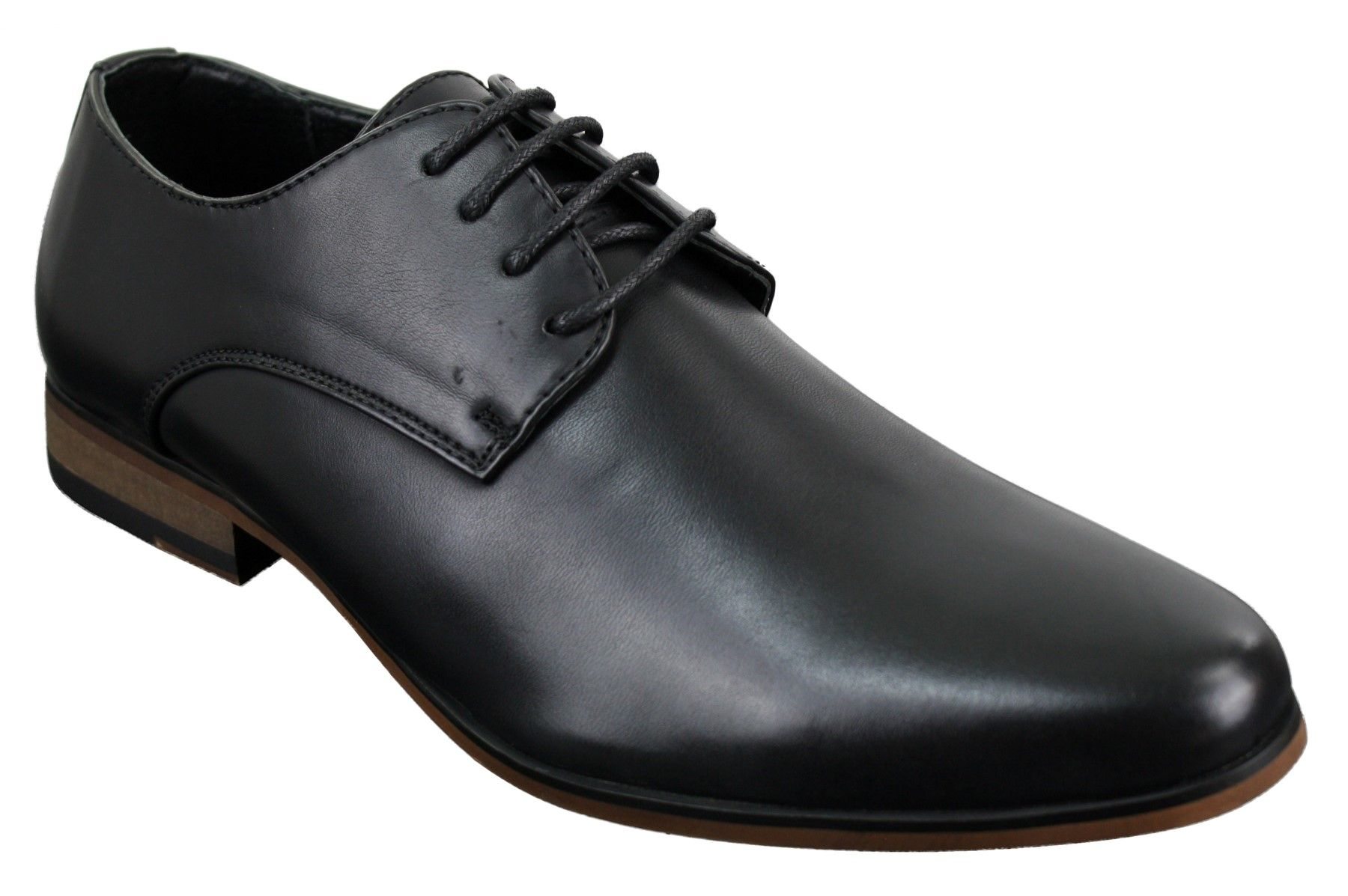 Mens Laced Plain Leather Lined Laced Smart Casual Formal Shoes Black