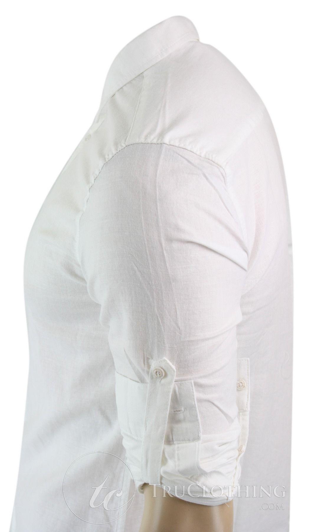 Mens Button Shirt Tie Cuff Link /& Hankie White Black Trim Silver Shiny Design