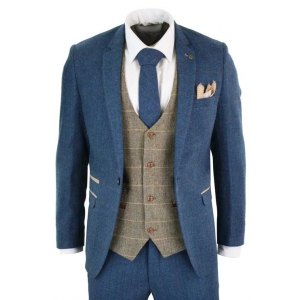 3 piece suit for men. Stylish blue Marc Darcy tweed suit with tan waistcoat.