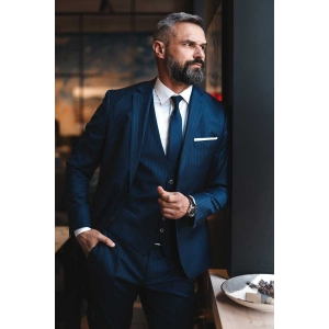 Stylish bearded man with a blue pinstripe 3 piece suit for men