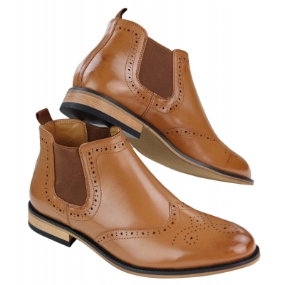 Men's Slip-On Brogue Boots