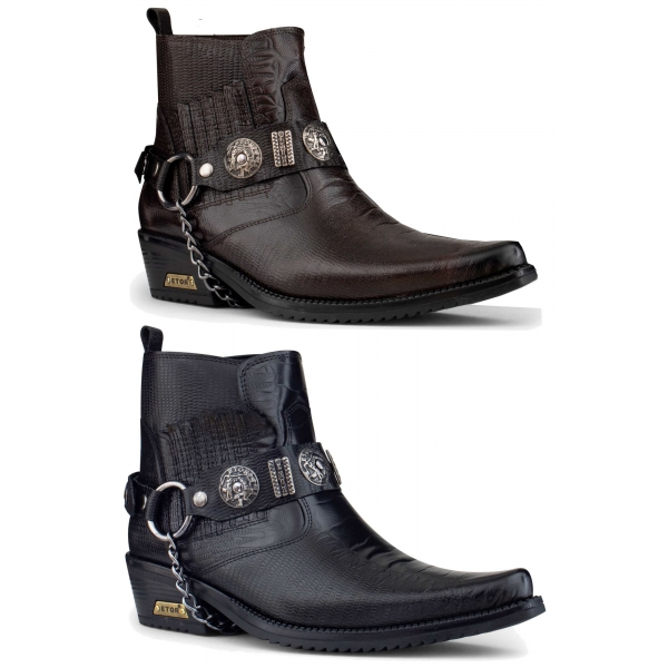 Mens Real Leather Cowboy Boots with Chain