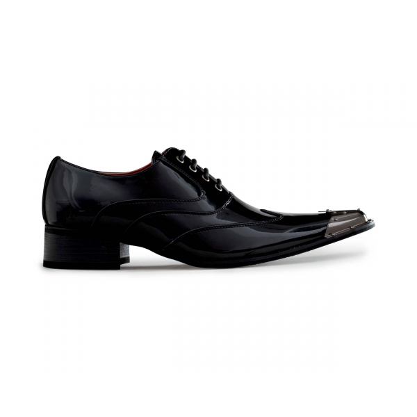 Mens Black Patent Shoes with Metal Toe