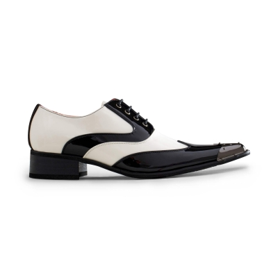 Mens Black & White Patent Shoes with Metal Toe