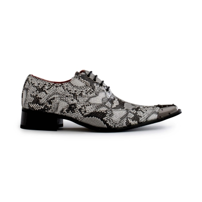 Mens Grey Snakeskin Design Shoes with Metal Toe
