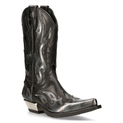 NEW ROCK M-7921-S3 SILVER FLAME BOOTS Black Leather Heavy Biker Western Cowboy