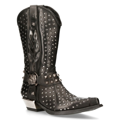 NEW ROCK M-7928-S1 WESTERN COWBOY BOOTS Black Leather Heavy Biker SILVER STUDS