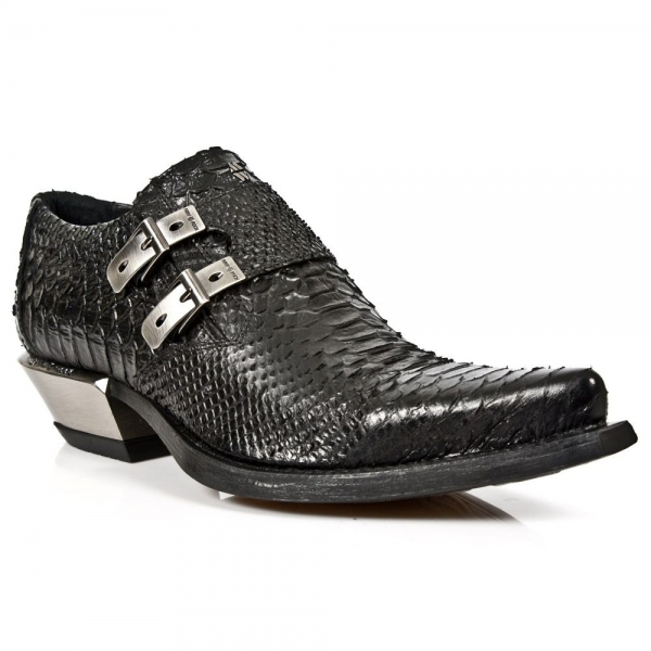 New Rock 7934-S2 Embossed Python Black Leather Buckle West Steel Heel Shoes Boot