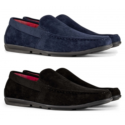 Mens Suede Square Toe Slip On Shoes