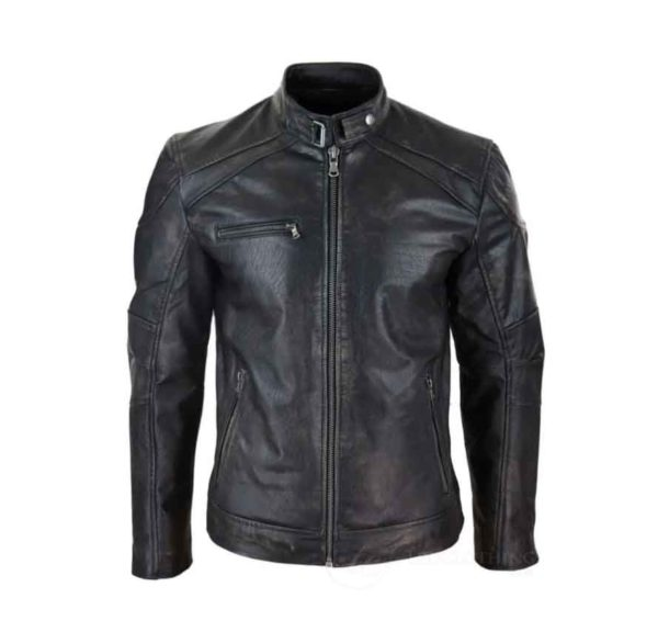 Mens Leather Biker Jacket Vintage Washed Black Brown Distressed Vintage HappyGentleman