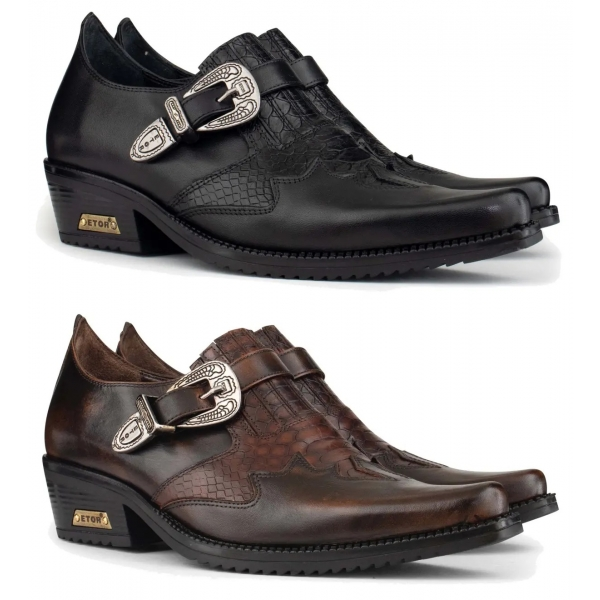 Mens Real Leather Riding Shoes with Buckle