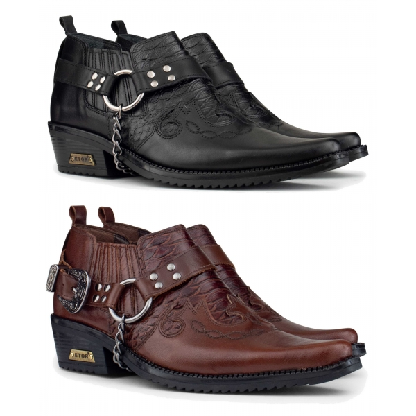 Mens Real Leather Riding Shoes with Chain
