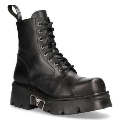 NEW ROCK M-NEWMILI083-S19 COMBAT BOOTS Black Leather Military Biker Shoes