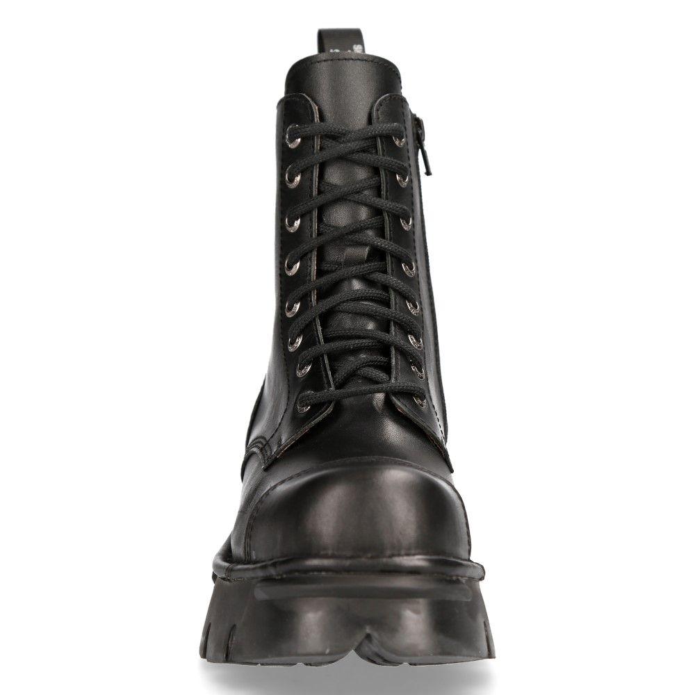 NEW ROCK M-NEWMILI083-S19 COMBAT BOOTS Black Leather Military Biker Shoes