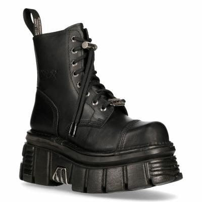 NEW ROCK M-NEWMILI083-S21 TOWER COMBAT BOOTS Black Leather Platform Biker Shoes