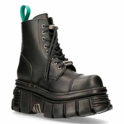 NEW ROCK M-NEWMILI083-VS2 VEGAN BOOTS Combat Black Leather Platform Biker Shoes