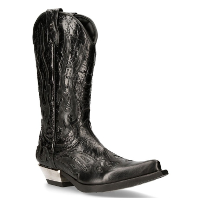 NEW ROCK M-7921-S1 BLACK FLAME BOOTS Black Leather Heavy Biker Western Cowboy