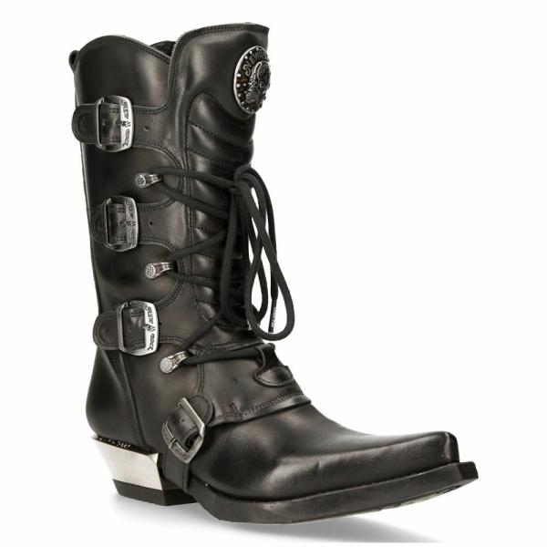 NEW ROCK M-7993-S1 WESTERN COWBOY BOOTS Black Leather Buckle Heavy Biker Shoes