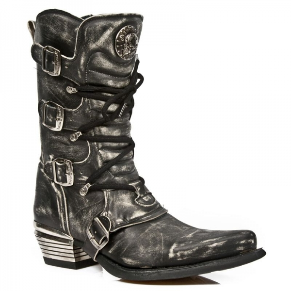 New Rock Men's Grey Dallas Leather Boots M.7993-S3
