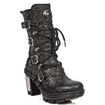 New Rock NEOTR005-S25 Vintage Floral Black Gothic Rock Punk Ladies Leather Boots