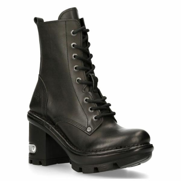 NEW ROCK NEOTYRE07X-S1 GOTH ROCK BOOTS Black Leather Wild Biker Shoes