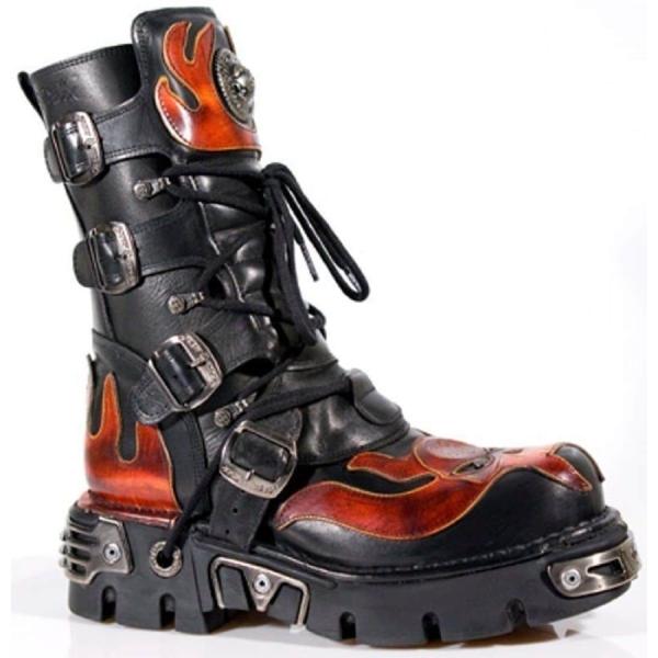 New Rock 107-S1 Red Skull Devil Black Leather Boot Biker Goth Rock Boots
