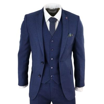 Mens Navy Blue Slim Fit 3 Piece Suit