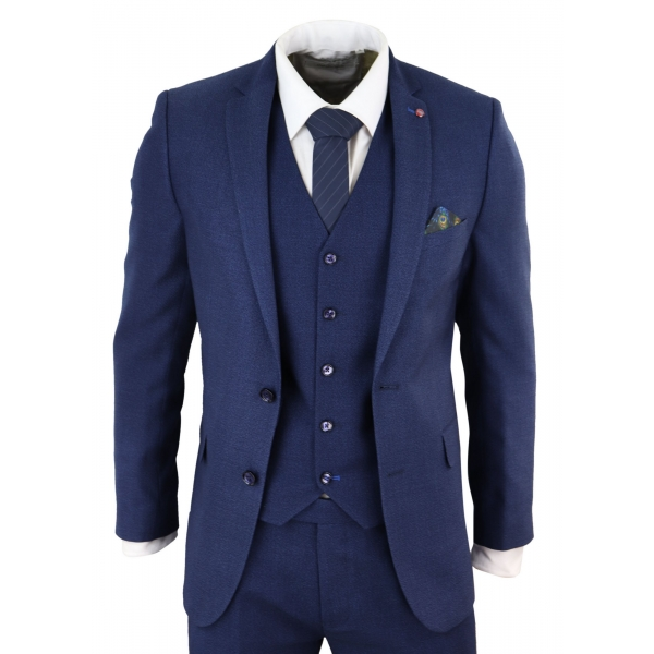 Mens Navy Blue Slim Fit 3 Piece Suit