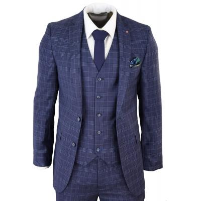 Mens Navy Blue Check 3 Piece Slim Fit Suit
