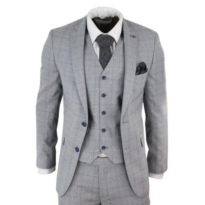 Mens Grey Check 3 Piece Slim Fit Suit