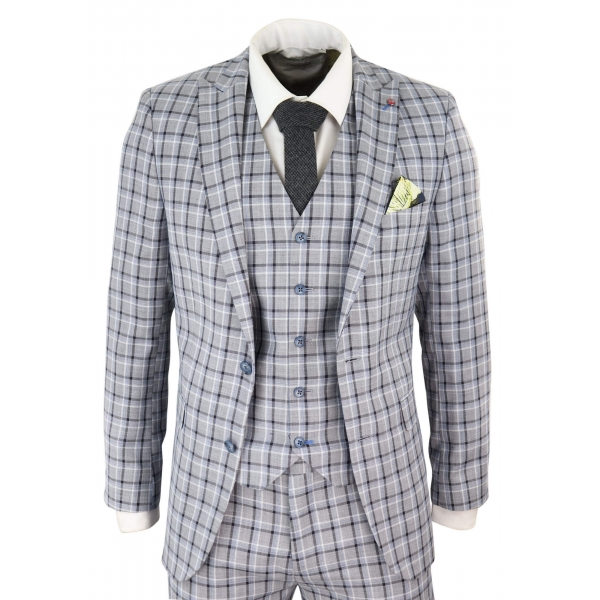 Mens Grey Pince of Whales Check 3 Piece Suit