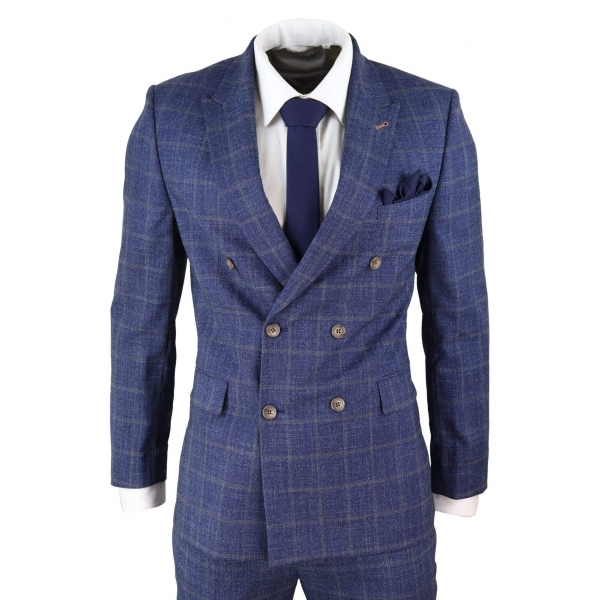 Blue Check Double Breasted 2 Piece Suit