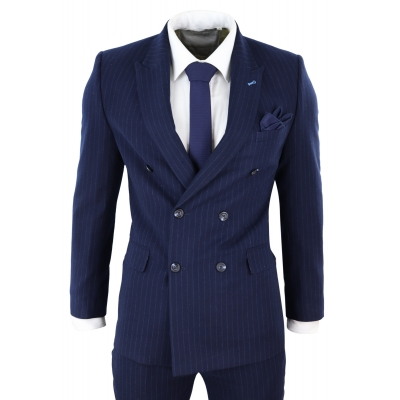 Navy-Blue Pinstripe Double Breasted Mafia Suit