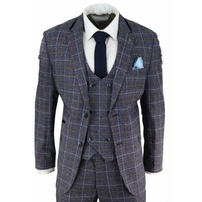 Mens Blue Tweed Check 3 Piece Suit