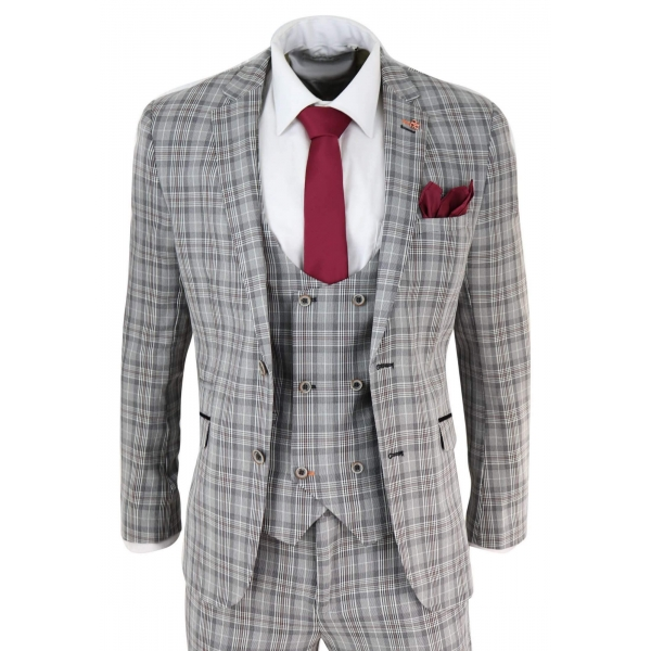 Mens Grey Tweed Check 3 Piece Suit