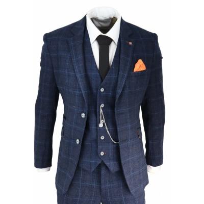Mens Navy Blue Check 3 Piece Suit