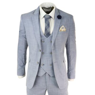 Mens Light Blue 3 Piece Suit