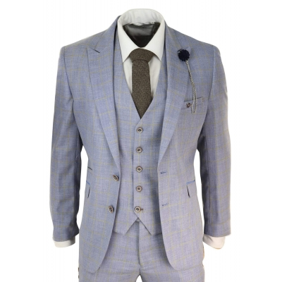Mens Blue Check Light Summer Suit