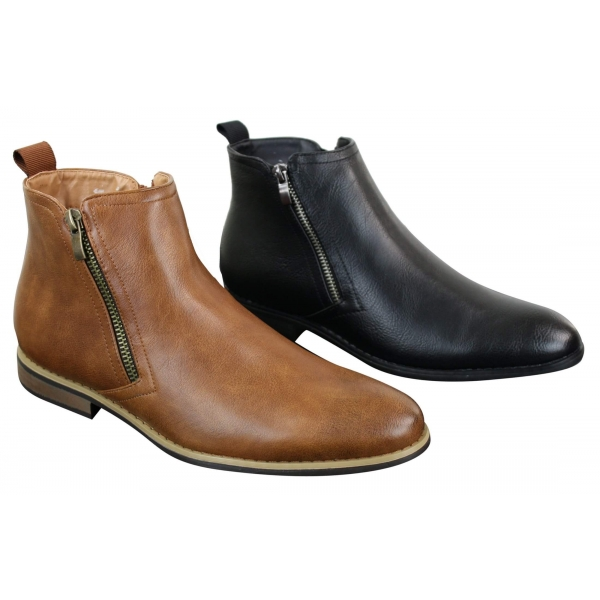 Mens PU Leather Zip-Up Ankle Boots