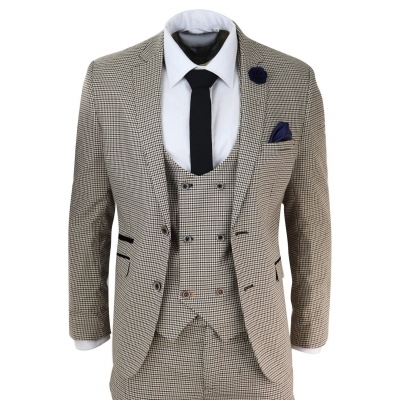 Mens Beige Navy Check Suit