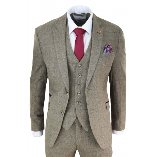 Mens Tweed Olive Green Check Suit