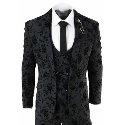 Mens Black 3 Piece Paisley Velvet Suit