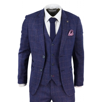 Blue 3 Piece Tweed Suit - Marc Darcy Harry