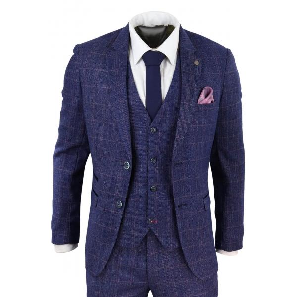Blue 3 Piece Tweed Suit - Marc Darcy Harry