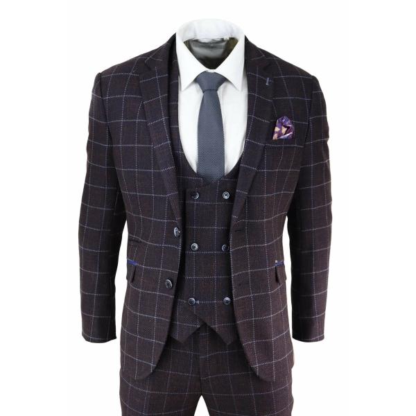Mens Plum Check 3 Piece Suit