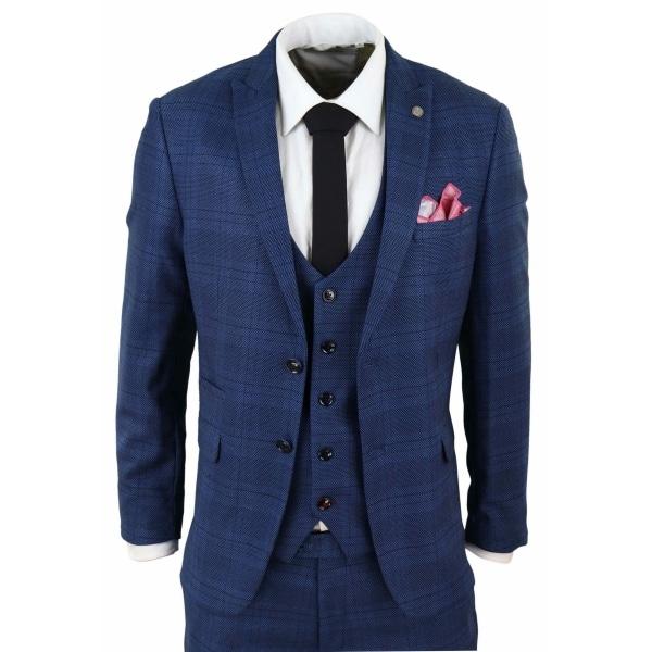 Marc Darcy Jerry - Blue 3 Piece Check Suit